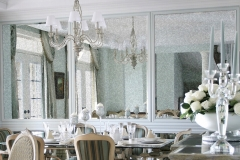 Antique-mirror-wall-in-dining-room