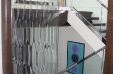 Textured-glass-partition-wall