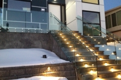Exterior glass railing