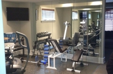 Exercise room glass partition
