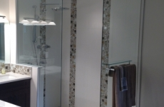 frameless shower with fixed panels