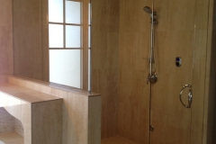 Steam Shower with pivot hinges on fixed transom
